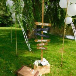 Bruiloft decoratie wegwijzer
